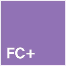Purple Square with FC+ written in white