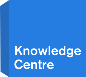 Blue cube with Knowledge Centre written on the front face